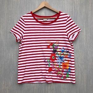 Anthropologie Postmark floral stripe tee shirt M
